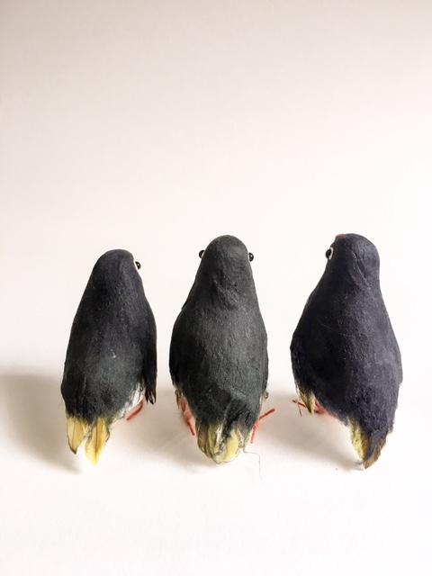 英国製ペーパークラフトのペンギン3兄弟後ろから