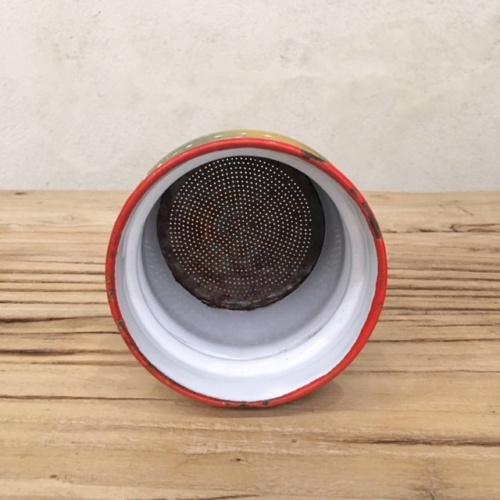 フランスアンティークのダミエ柄2段式エナメルコーヒーポットの茶こし