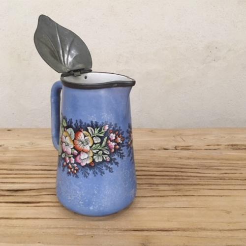 フランスヴィンテージの青い花柄エナメルポット