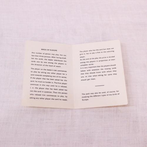 イギリスヴィンテージの鳥のカードゲームの説明書