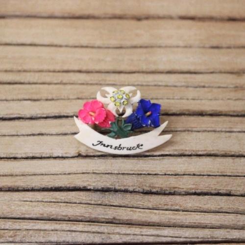 オーストリアヴィンテージの3色の花のブローチ