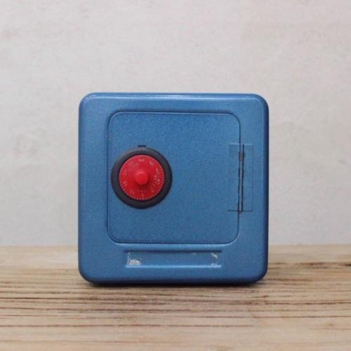 英国ヴィンテージの青い金庫型貯金箱