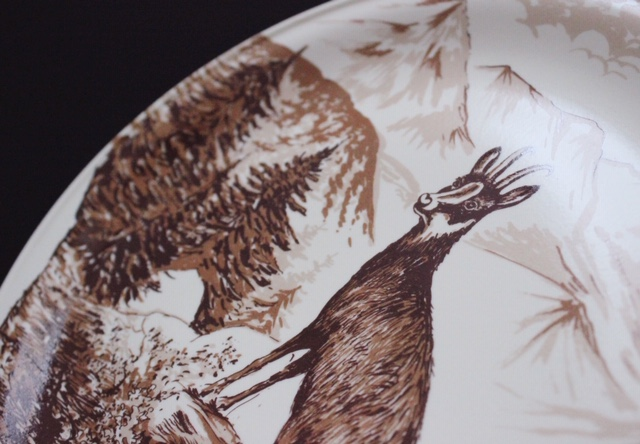 フランスヴィンテージのセピア色のヤギの絵皿