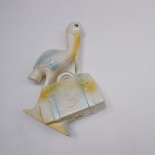 英国ヴィンテージのプラスチック製コウノトリの貯金箱