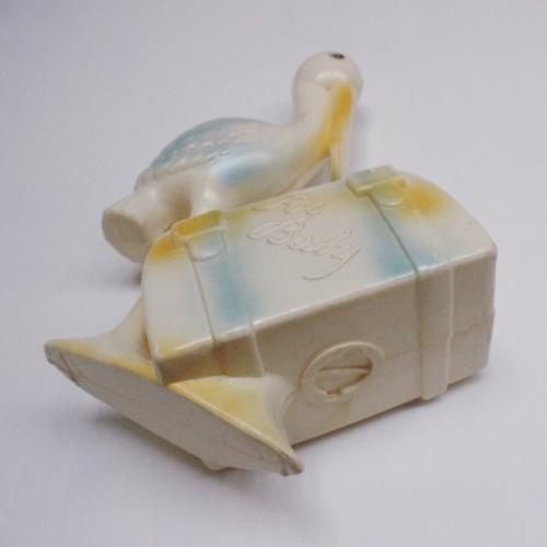 英国ヴィンテージのプラスチック製コウノトリの貯金箱の開け口
