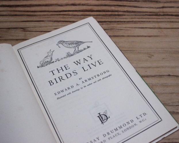 イギリスヴィンテージの鳥の本の扉